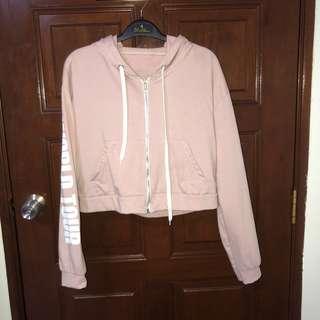 White sleeves wording pink crop jacket