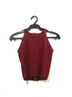 Maroon Knit Halter Crop Top