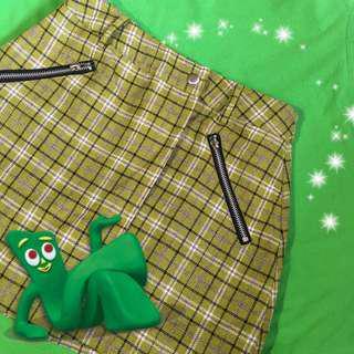 🚚 90s 💫 綠色 格子 短裙 開衩 古著 復古 vintage