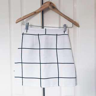 Black/White Grid Skirt