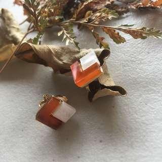 🚚 《早衣服》6月心品🚣🏻♀️簡約個性撞色醋酸幾何方形耳針夾式耳環無耳洞耳夾(預)