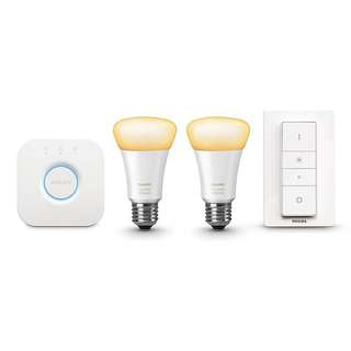 Philips Hue White Ambiance Smart Home  E27 Starter Kit, includes 2 E27 White Ambiance bulbs, Wireless Dimmer Switch, Hue Bridge 2.0 / Echo Alexa, Apple HomeKit and Google Assistant compatible