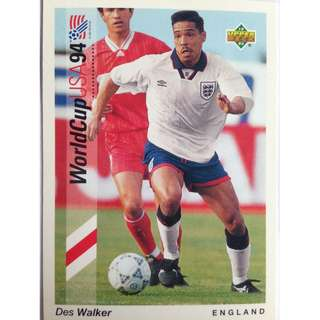 Des Walker (England) - Soccer Football Card #63 - 1993 Upper Deck World Cup USA '94 Preview Contenders