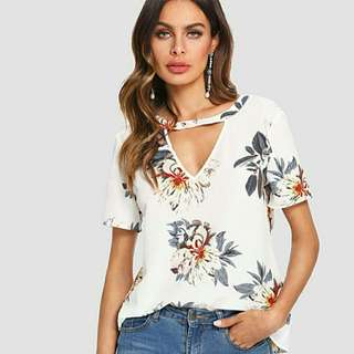 Cut Off Floral Top