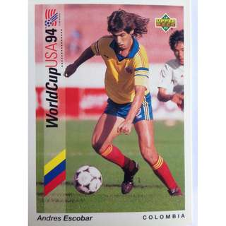 Andres Escobar - Murdered (Colombia) - Soccer Football Card #61 - 1993 Upper Deck World Cup USA '94 Preview Contenders