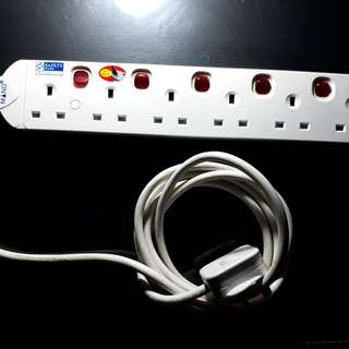 6 Gang UK Plug Extension Power Socket with 2.5M Cable