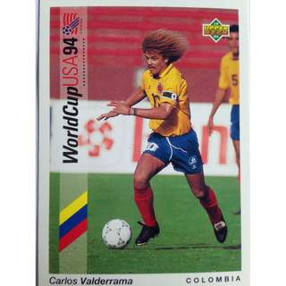 Carlos Valderrama (Colombia) - Soccer Football Card #57 - 1993 Upper Deck World Cup USA '94 Preview Contenders