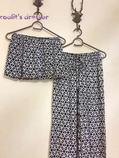 NEW! Two-piece Jumpsuit (Black/White Color Prints)
