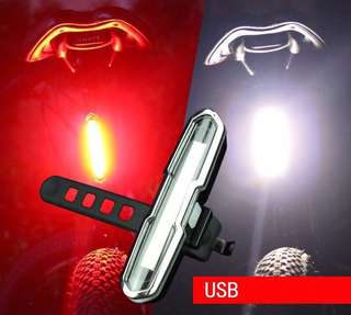 USB Rechargeable Bicycle Tail Light Red/White