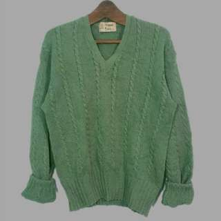 Moss green cable knit pullover
