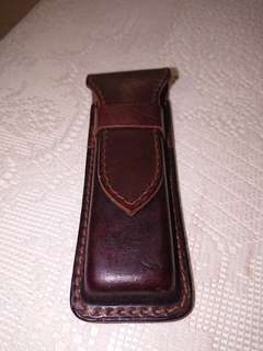 Fountain pen leather holder case