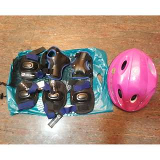 Kids cycle ride helmat and knee support equipment
