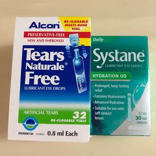 BN 👁ALCON & SYSTANE👁 Re-closable Tear Naturale Free Lubricant Eye Drops Tubes/ Vials