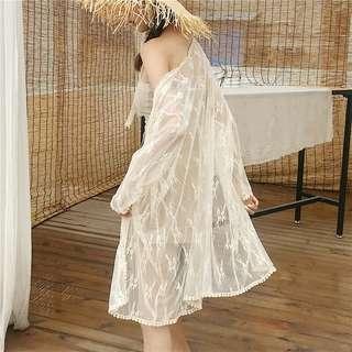 C2018鉤花蕾絲防曬服長袖中長款開衫(2色)