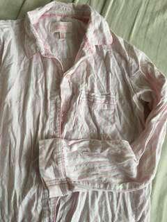 🚚 Victoria Secret 長袖粉白條紋睡衣