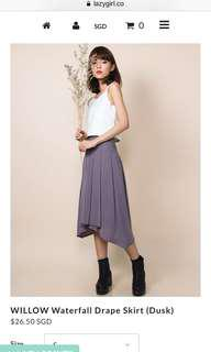 lazy girl collective willow waterfall drape skirt in dusk / purple size S