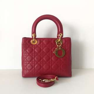 Authentic Lady Dior Medium Bag