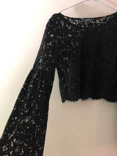 Lace crop top with flare sleeves