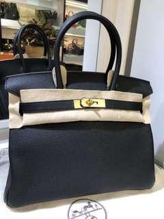 正品 全新 Hermes Birkin 30 黑色金扣Togo 手挽袋