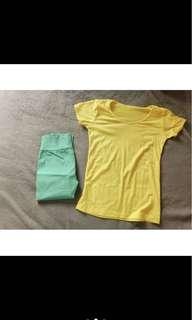 🚚 黃色上衣+綠色彈性長褲