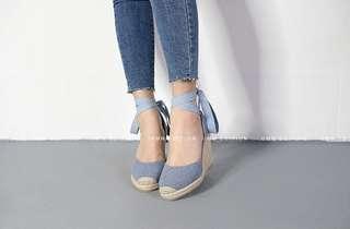 🚚 正韓牛仔淺藍🎀羅馬鞋綁帶麻編楔型鞋