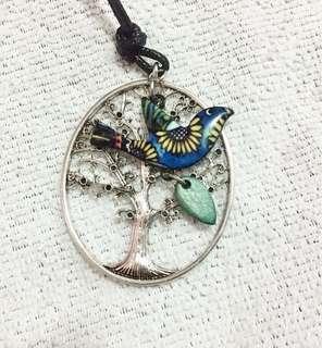 Bird & Tree Charm Necklace