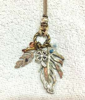 Vintage Feather Charm Statement Necklace