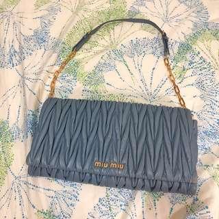 100% real Miu Miu chain bag 羊皮氣質灰藍色手袋