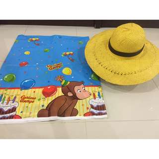 Curious george table cover & yellow hat