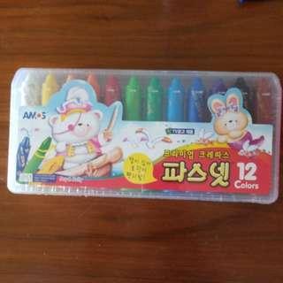韓國兒童顏色蠟筆 蠟筆,粉彩,水彩 *3合為1 (All-in-ONE) 12支 Crayon