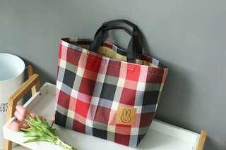 格子收納包 居家實用 用途廣 手提小兔子購物袋