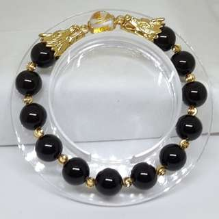 🚚 Natural Black Agate Gold Little Double Dragon Bracelets - Code 05