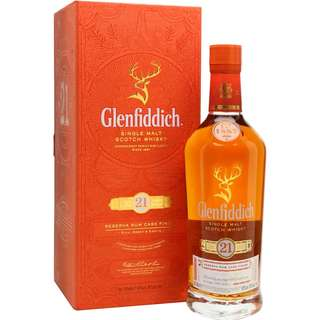格蘭菲迪21年威士忌, GLENFIDDICH 21 YEARS OLD, SINGLE MALT SCOTCH WHISKY, RESERVA RUM CASKS FINISH 40% with Orange Gift Box