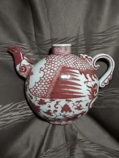 Ming dynasty cobalt red phoenix pattern teapot 20 cm high x30 cm wide. 大明安永樂期釉裡紅茶壺。價格可以商議。