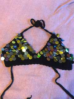 Crochet sequin festival top