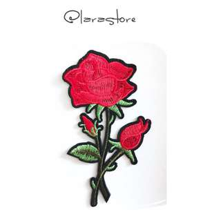 Bn Embroidered rose iron on patch