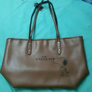 100 authentic Coach snoopy leather tote bag