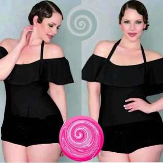Plus size off shoulder swimsuit