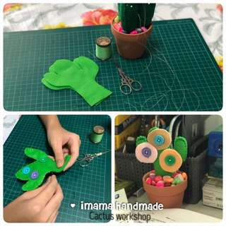 Cactus sewing handmade workshop / events / parties / for kids and adults