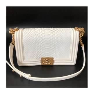 Authentic Chanel Medium Boy Python Flap Bag