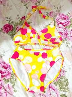 triumph 粉紅x黃色波點圖案 三點式 2件套 游泳 游水 泳衣 彈性顯瘦(A)