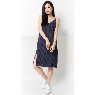 BNWT Pinstripe Cross Back Maxi Dress, Size L