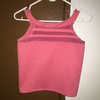 Pink Halter Top with Mesh