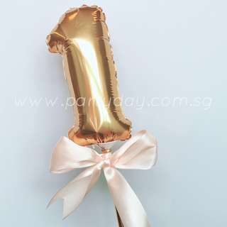 7in mini Foil Balloon Cake Topper(Gold Number 0-9)