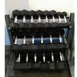 Rubber Hex Dumbbell Set with Racks, 5-50 Dumbbell Set with 1 Rack and other Home and Gym equipment