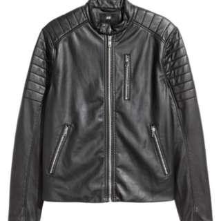 🚚 H&M Hm Biker jacket black 機車 騎士 皮衣 夾克 外套