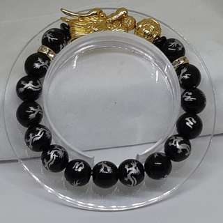 Natural Dragon Black Agate Gold Dragon Bracelet - Code 09