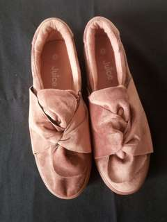 Suede old rose slip on sneakers