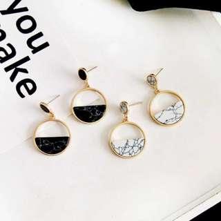 【現貨】歐美風復古大理石紋路百搭時尚極簡耳針耳環