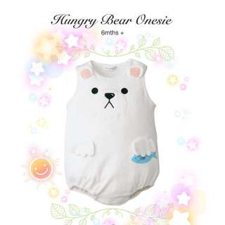 👶🏻 6M+ SLEEVELESS ONESIE WHITE HUNGRY BEAR UNISEX BABY CLOTHING CASUAL #HariRaya35